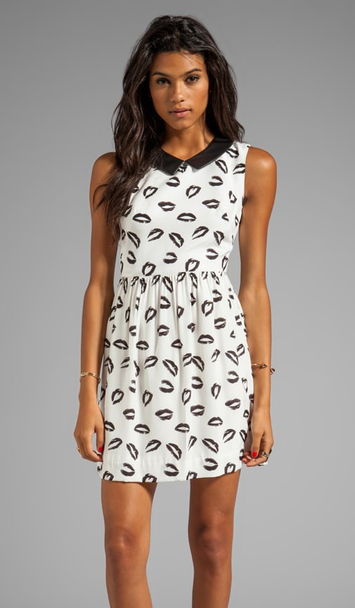 Kiss Print Leather Collar Gathered Skirt Dress