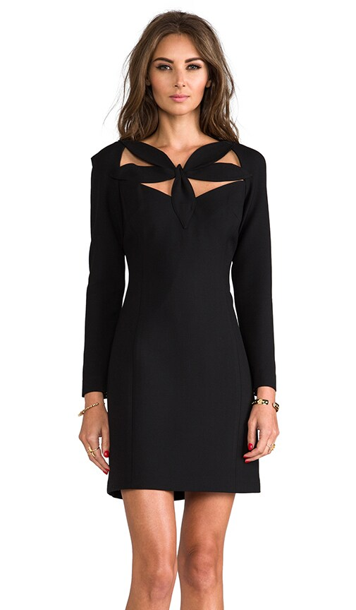 RUNWAY Stretch Doubleweave Neckline Detail Dress