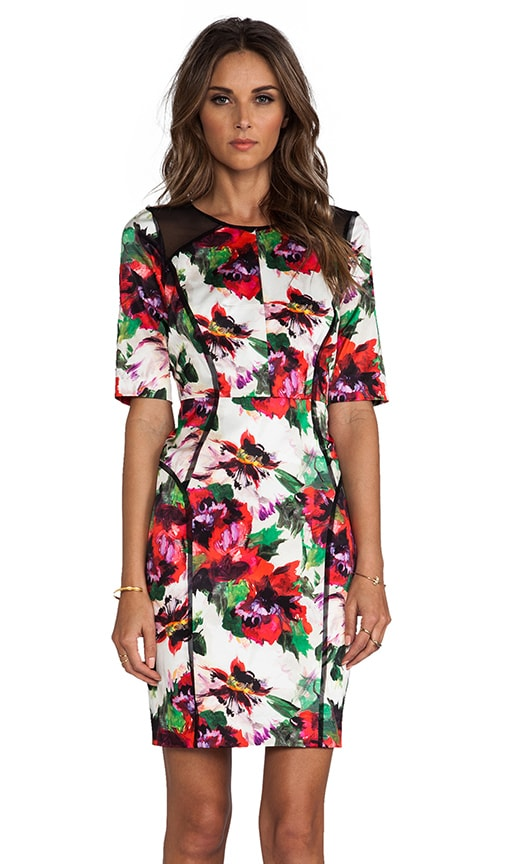 Floral Print Paneled Raw-Edge Sleeve Dress