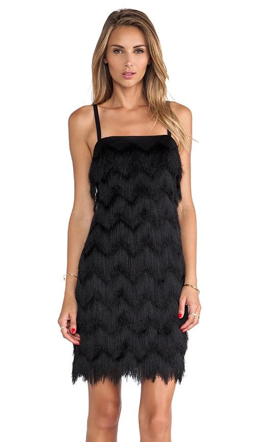 Vestidos negro de flecos