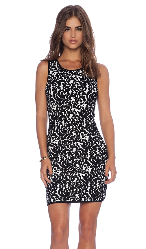 MILLY Lace Jacquard Dress in White & Black