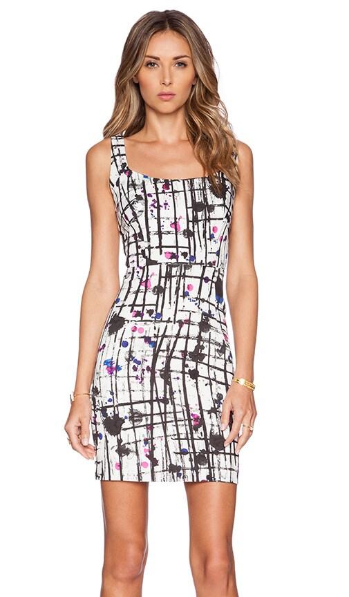 MILLY Splatter Print Cut Out Dress in Multi