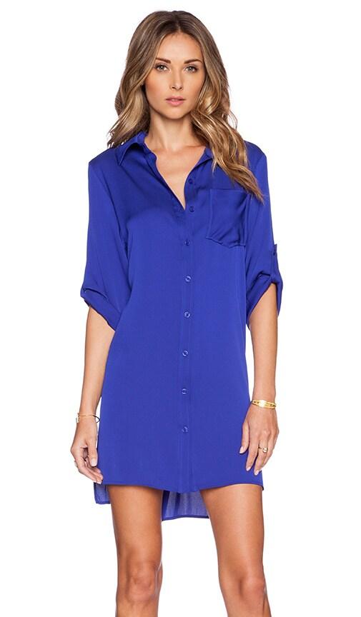 MILLY Silk Crepe Shirtdress in Cobalt | REVOLVE