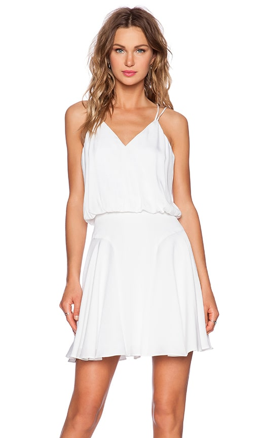 MILLY Silk Crepe Tank Dress in White