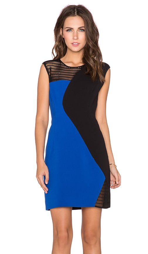 MILLY Mesh Colorblock Dress in Blue