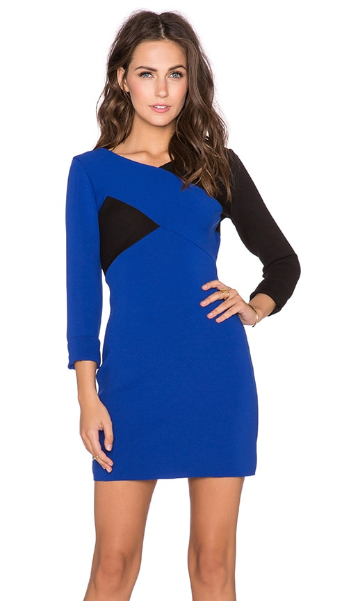 MILLY Chevron Long Sleeve Dress in Cobalt