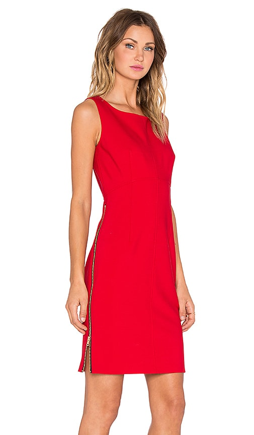 MILLY Double Crepe Zip Sheath Dress in Red