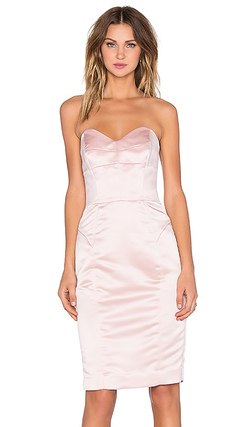 MILLY Marta Duchess Satin Strapless Dress in Blush