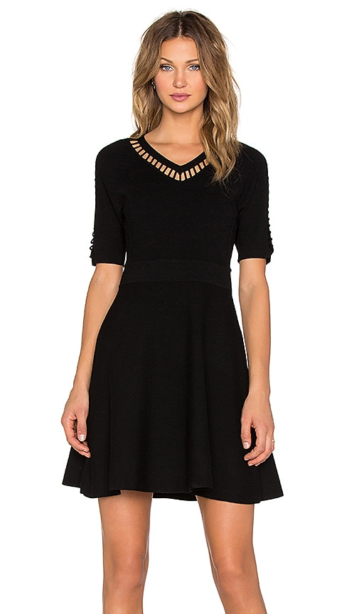 MILLY Bar Inset Fit & Flare Dress in Black