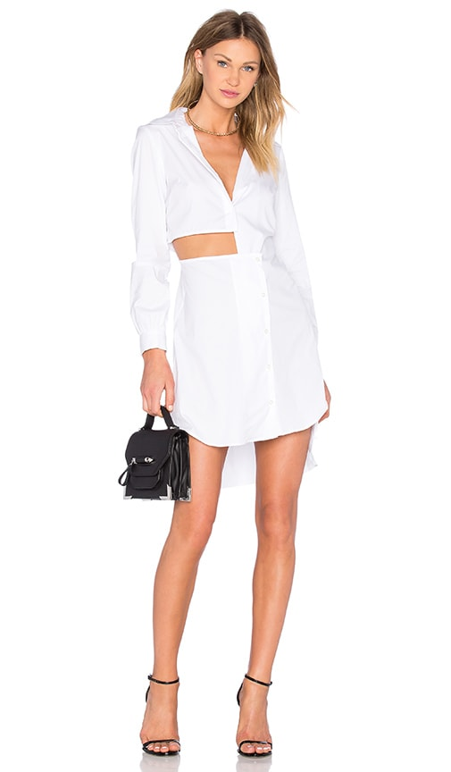 MILLY Cutout Shirt Dress in White