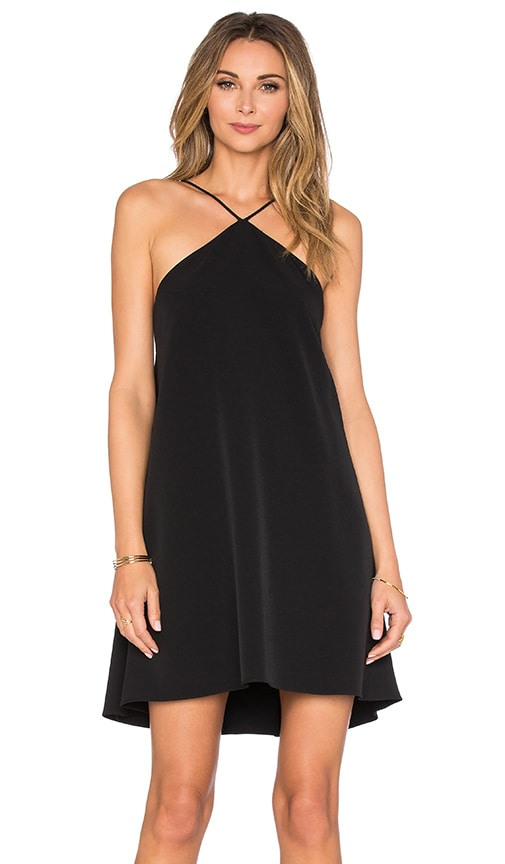 MILLY Cascade Back Halter Dress in Black