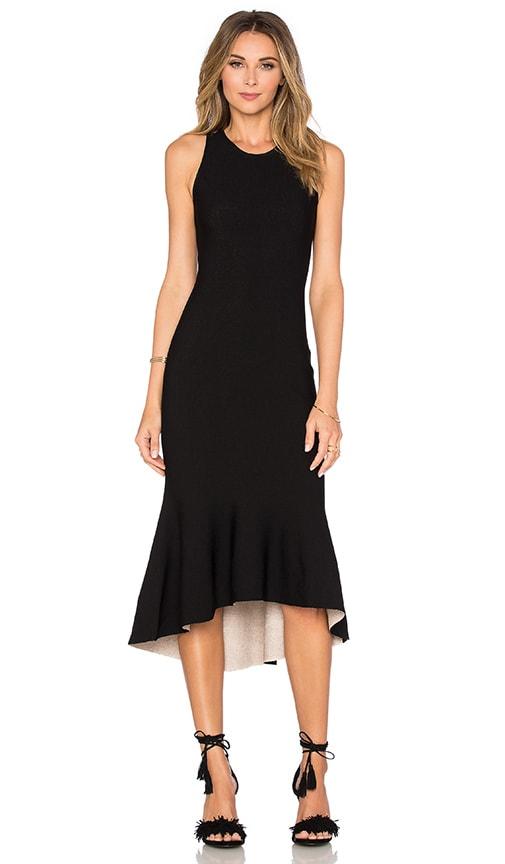 MILLY Reversible Tulip Dress in Black & Blush