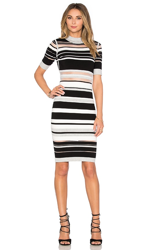 MILLY Invisible Stripe Cutout Dress in Black & White