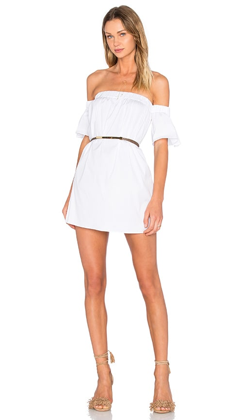 MILLY Bare Shoulder Flutter Sleeve Dress in White