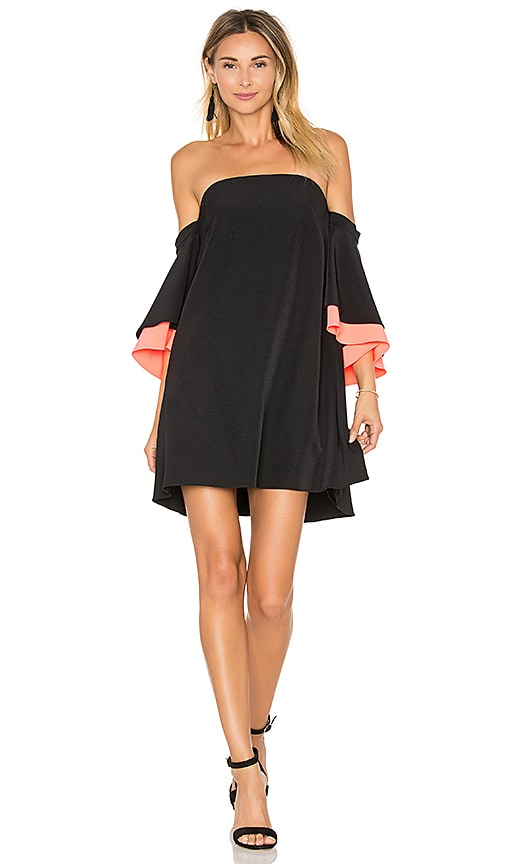 MILLY Mila Double Flutter Sleeve Dress in Black