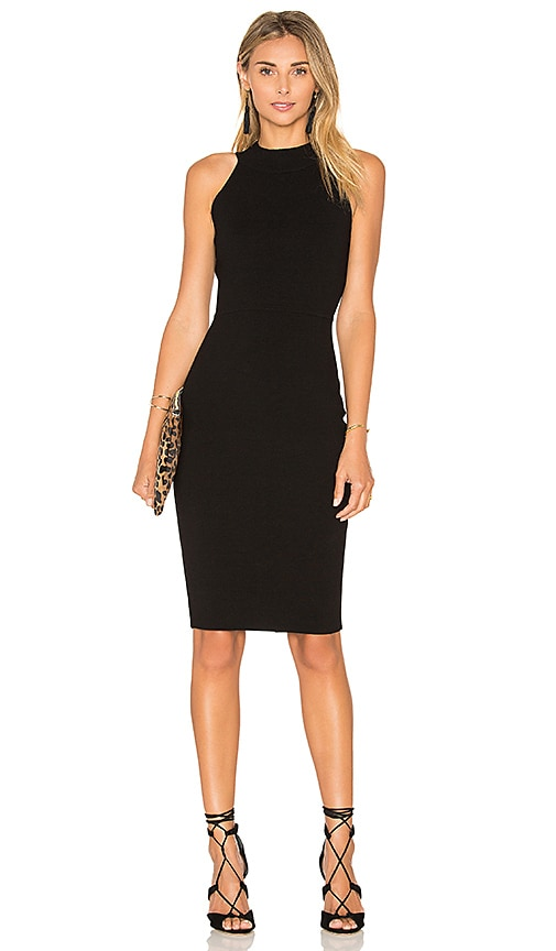 MILLY Structured Midi Dress in Black