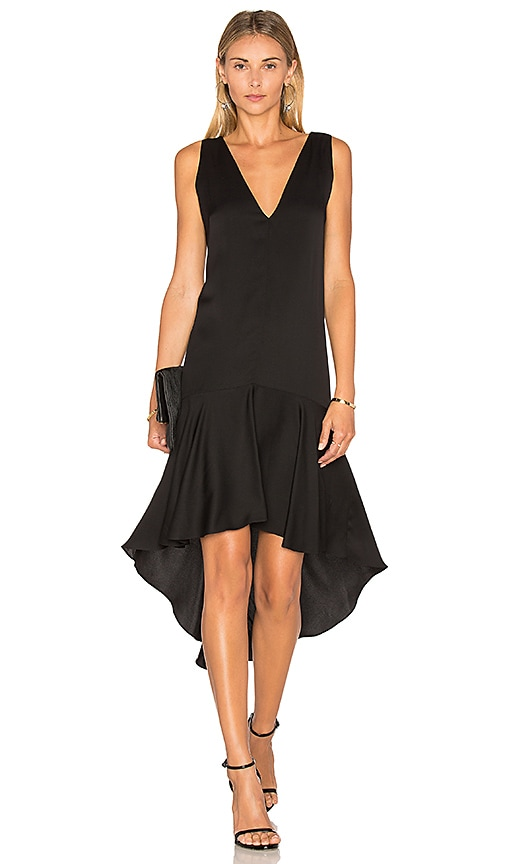 MILLY Deep V Flounce Dress in Black