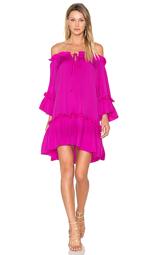 MILLY Silk Santorini Dress in Fuchsia