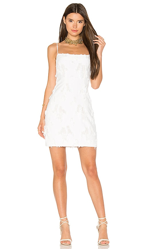 MILLY Frayed Mini Dress in White