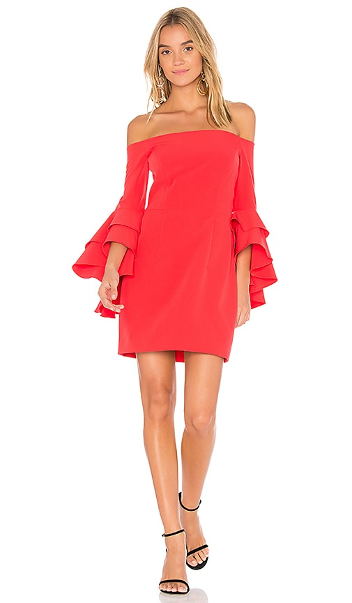 MILLY Selena Ruffle Dress in Red