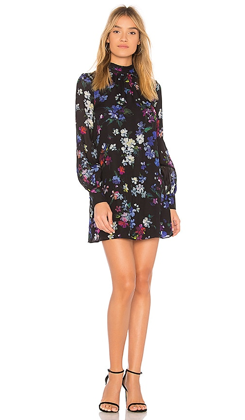 MILLY Sherie Painted Floral Dress in Black