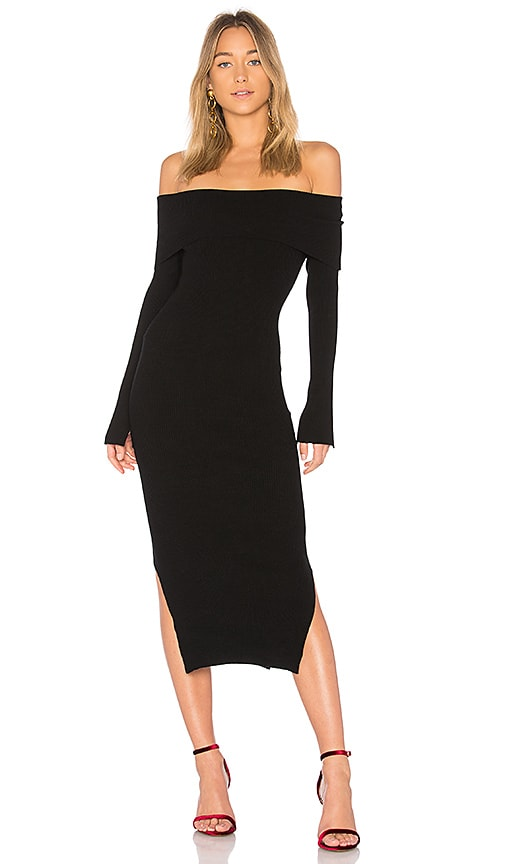 MILLY Off the Shoulder Rib Dress in Black