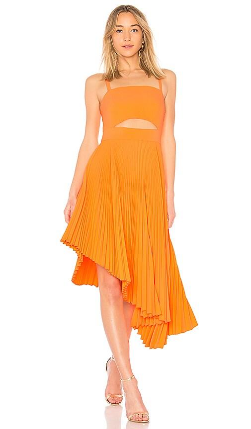 MILLY Pleated Eliza Dress in Orange