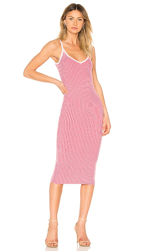 MILLY Plaited Rib Slip Dress in Pink