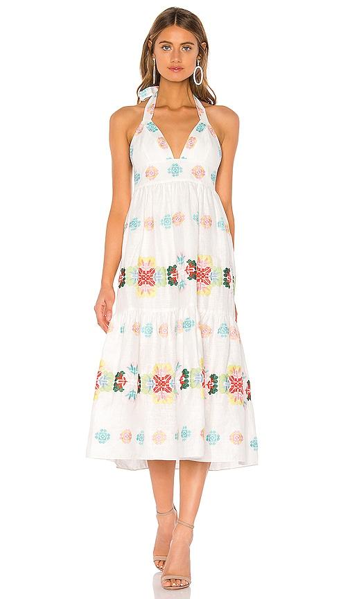Embroidered Amelie Midi Dress