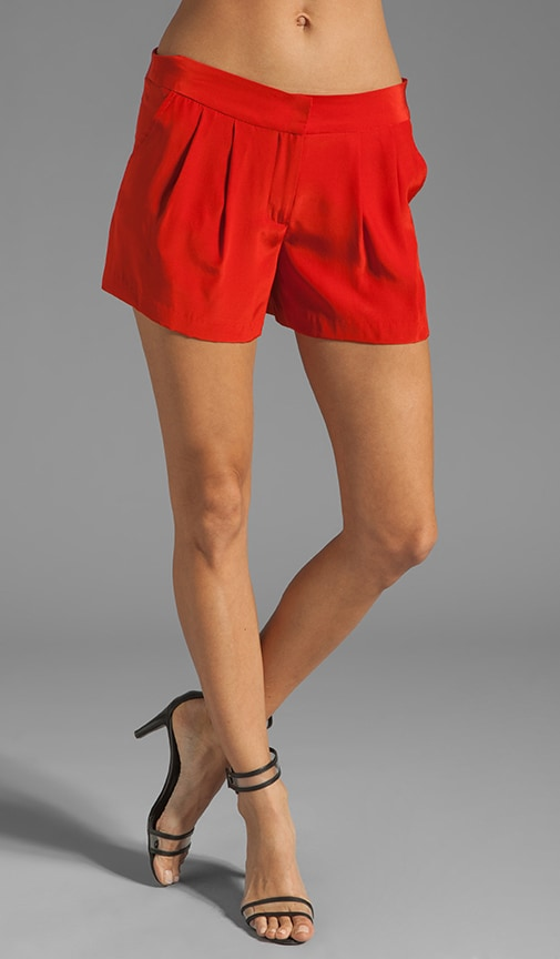 Solid Silk Pleat Front Short