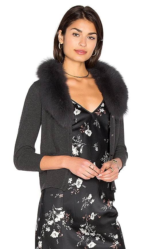 MILLY Blue Fox Fur Collar Cardigan in Gray