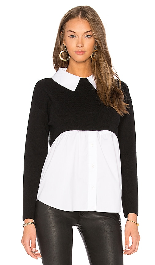 MILLY Shirting Sweater in Black