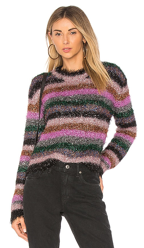 MILLY Fringe Sweater in Pink