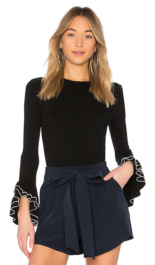 MILLY Layered Ruffle Sleeve Pullover in Black