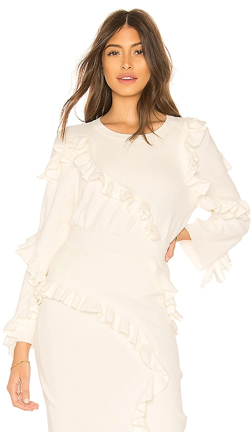 MILLY Abstract Ruffle Pullover in Ivory