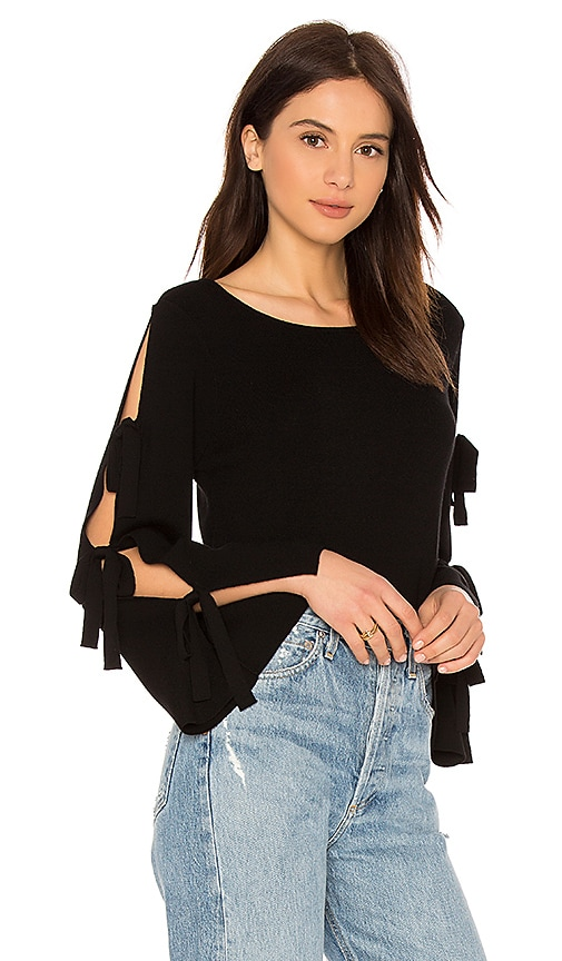MILLY Tied Together Flare Sleeve Pullover in Black