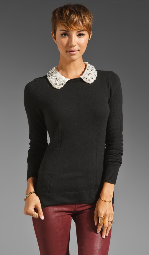 Jewel Trim Detachable Collar Sweater