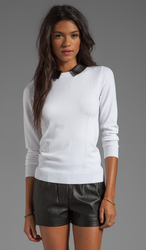 June Knits Leather Collar Sweater