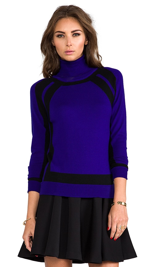 Knit Colorblock Turtleneck Sweater