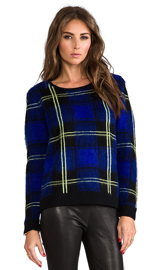 RUNWAY Knit Washed Plaid Jacquard Sweater