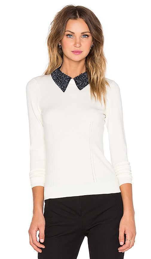 MILLY Beaded Tuxedo Collar Sweater in White