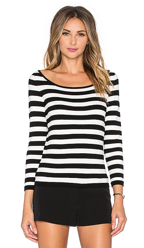 MILLY Stripe Ballet Neck Sweater in Black & White