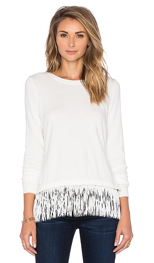 MILLY Flutter Sweater in White