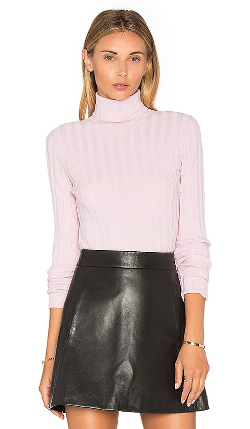 MILLY Rib Turtleneck Sweater in Pink