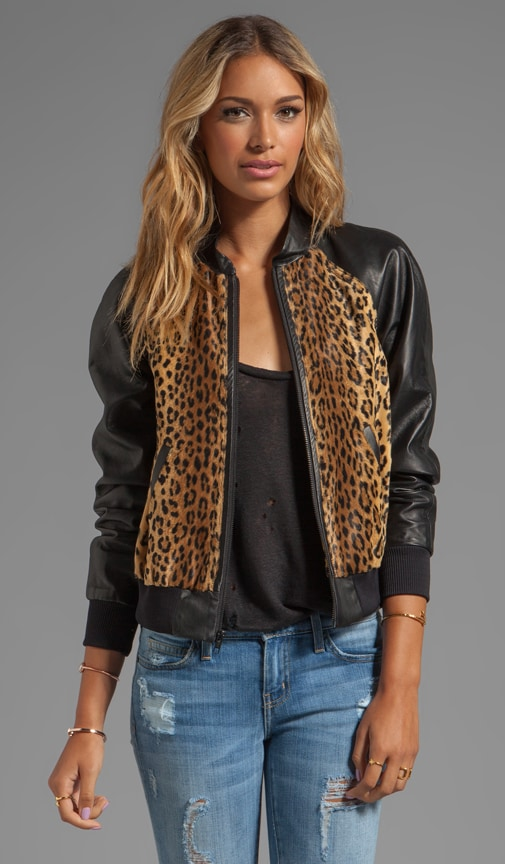 Cheetah Faux Fur Leather Sleeve Bomber Jacket