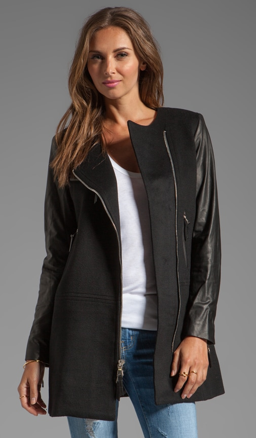Florentine Wool Melton Chloe Leather Sleeve Coat