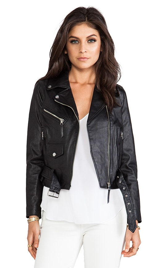 Stretch Plonge Leather Motorcycle Jacket