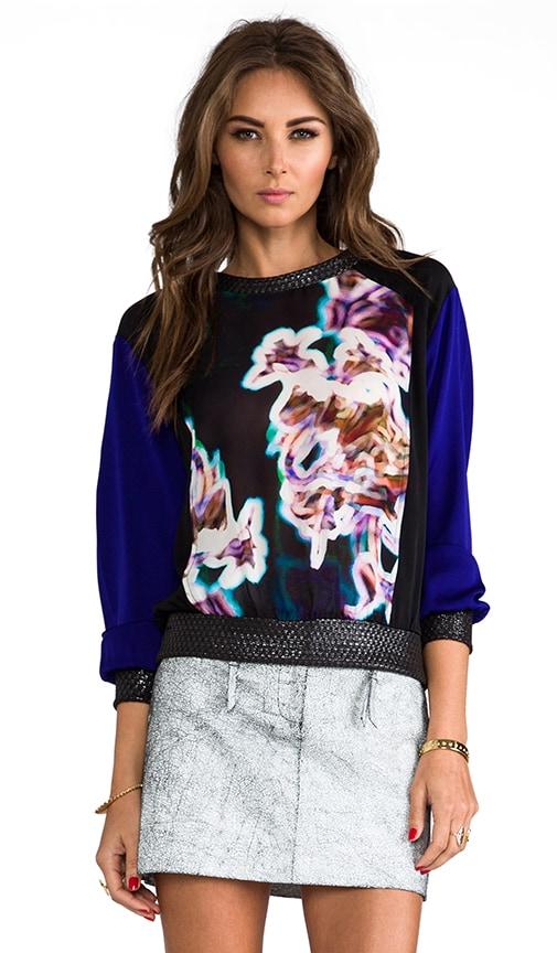 Neon Floral Print Raglan Silk Sweatshirt