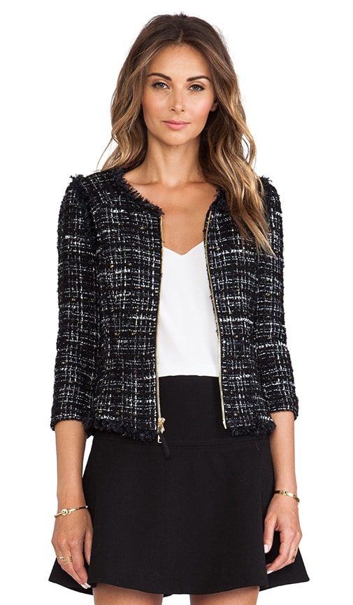 Featherweight Italian Tweed Fringe Zip Jacket