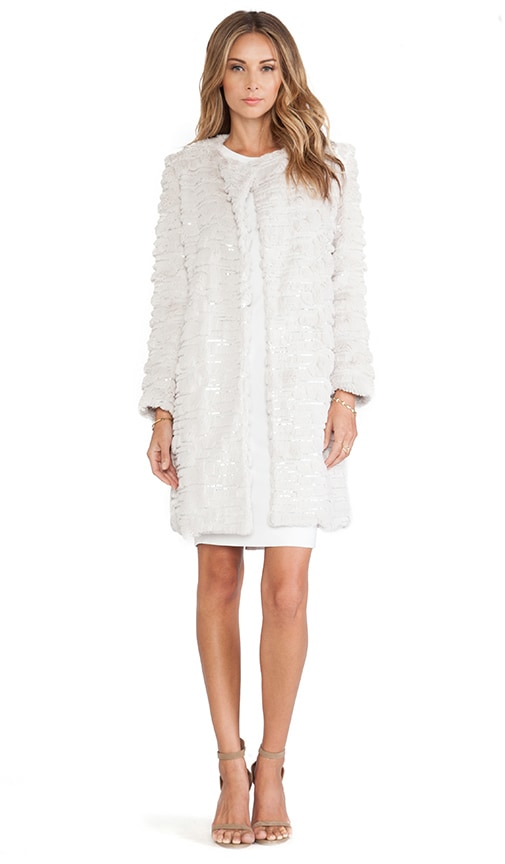 Sequin Embroidered Faux Fur Coat